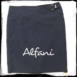 Alfani Navy Cotton Career Skirt Size 12 Washable